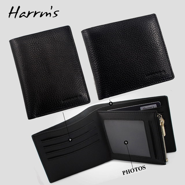 Harrms Brand 100% Cowhide Genuine leather men wallets soft with card holder and coin zipper pocket short design wallet purse