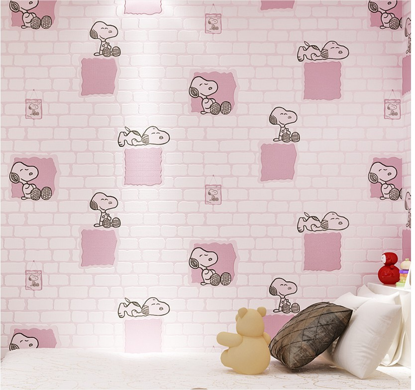 Children room cartoon wallpaper 3d non-woven girl boy blue pink bedroom free shipping young children s room bedroom wallpaper non woven boy toy room 5 3m2
