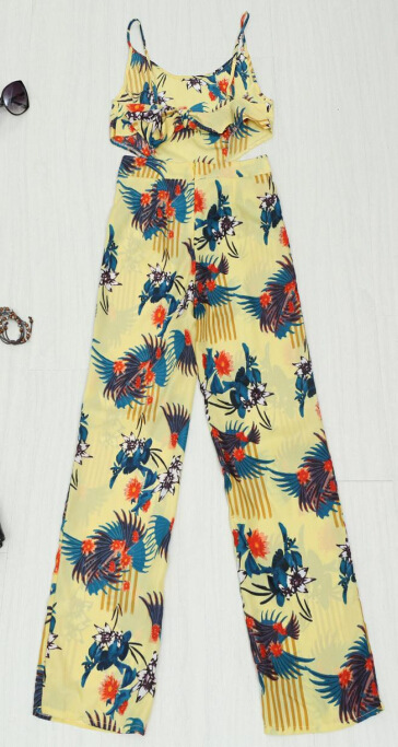 eecca78d18b 2015 New Summer Rompers Womens Jumpsuit Strappy Halter Playsuit Sexy Yellow  Floral Print Backless Long Pants Wide Leg Jumpsuit on Aliexpress.com