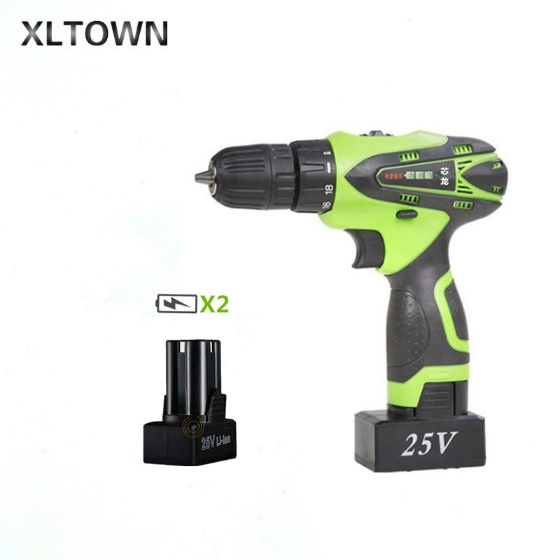 XLTOWN 25V hand drill rechargeable lithium battery multi-function electric screwdriver with 2 battery Household power tools xltown 25v hand drill rechargeable lithium battery multi function electric screwdriver with a box household power tools drill