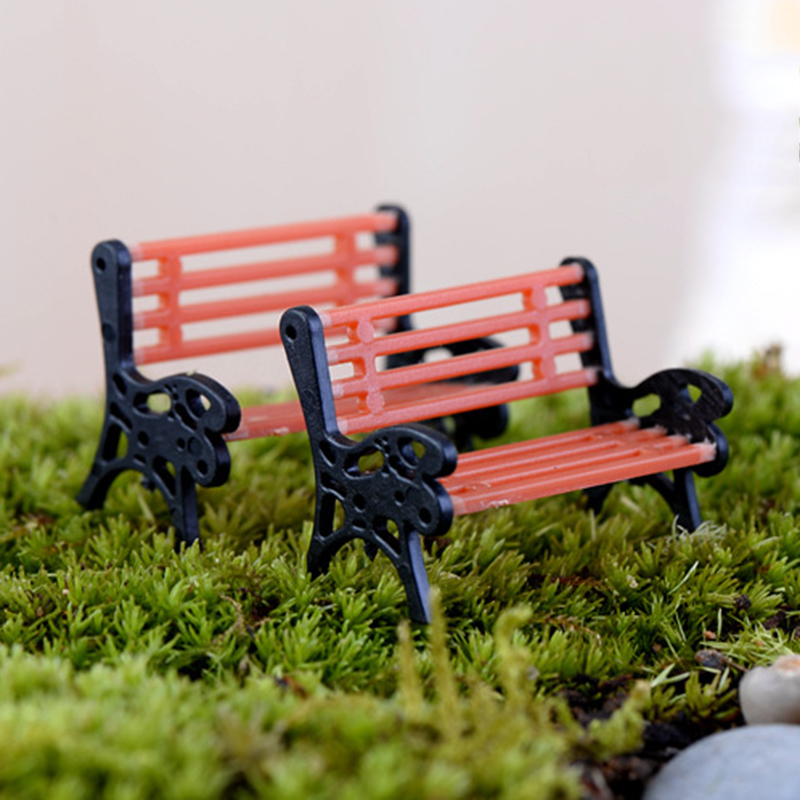 1pcs New Plastic Mini Garden Park Bench Craft Fairy Dollhouse Decor Outdoor Forestwoods Home Wedding Party DIY Decoration