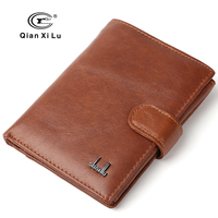 QIANXILU 100 Genuine Leather Passport Wallet Men Travel Wallets Holder Man Card Large Men Wallets Money