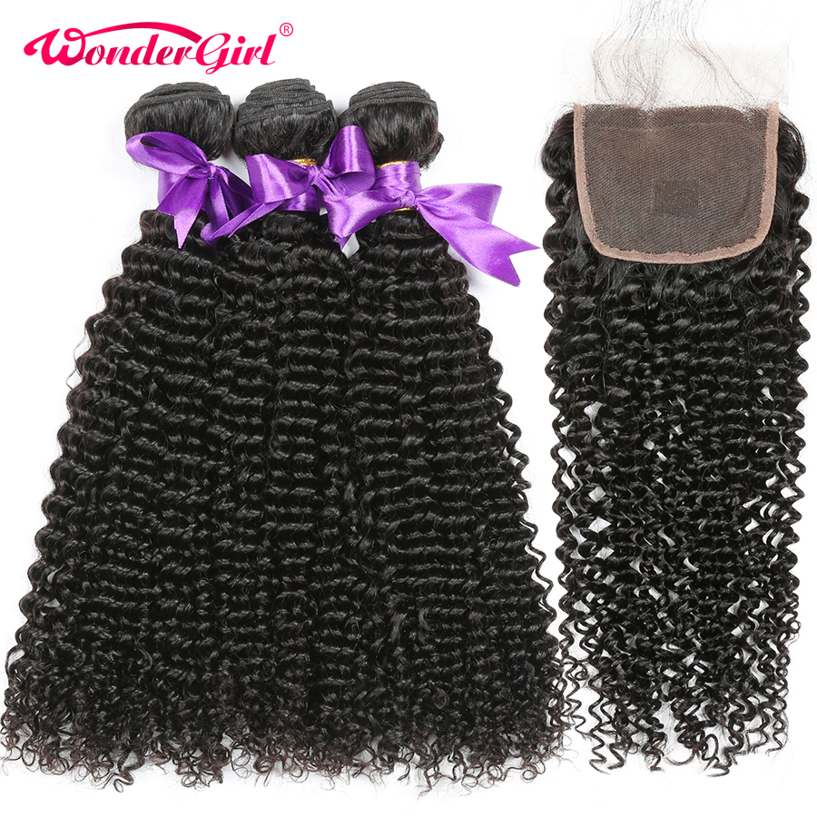 Afro Kinky Curly Hair Remy Human Hair Bundles With Closure 3 Bundles Brazilian Hair Weave With