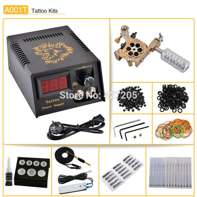 Beginner Professional Complete Tattoo Kit Coils Tattoo Machine Gun Ink Grip Footswitch Needles Tips Power Supply Free Shipping