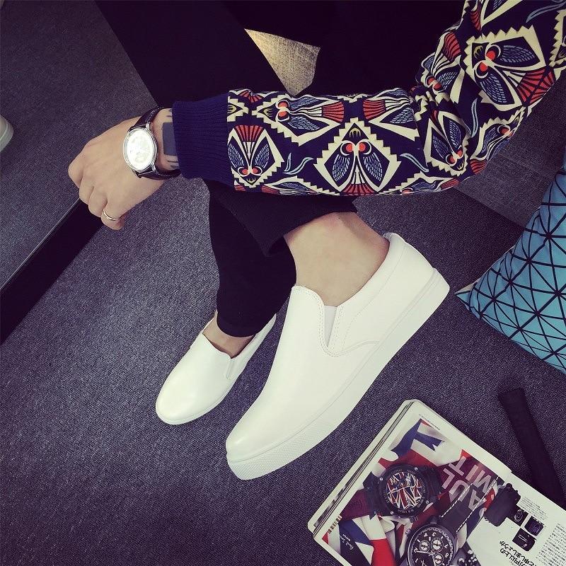 Nouveau Slip white on Casual Respirant Mode En Black 2018 Cuir Loisirs Yet672 Chaussures Hommes Léger Bq5gfXw