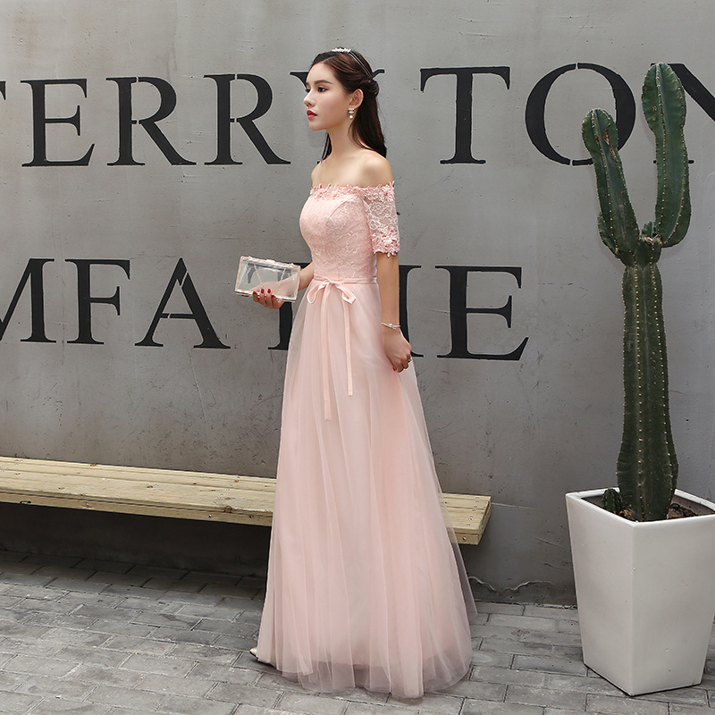 Elegant A-line Off the Shoulder   Bridesmaid     Dress   Half Sleeves Pearl Pink Women Wedding Party   Dress   Lace Tulle Lace-up Back   Dress
