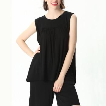 Mferlier Female Nightwear Set Large Size 4XL 5XL 6XL 7XL Ladies Solid Loose Elastic Pink Gray Black Blue Women Pajamas Set 14