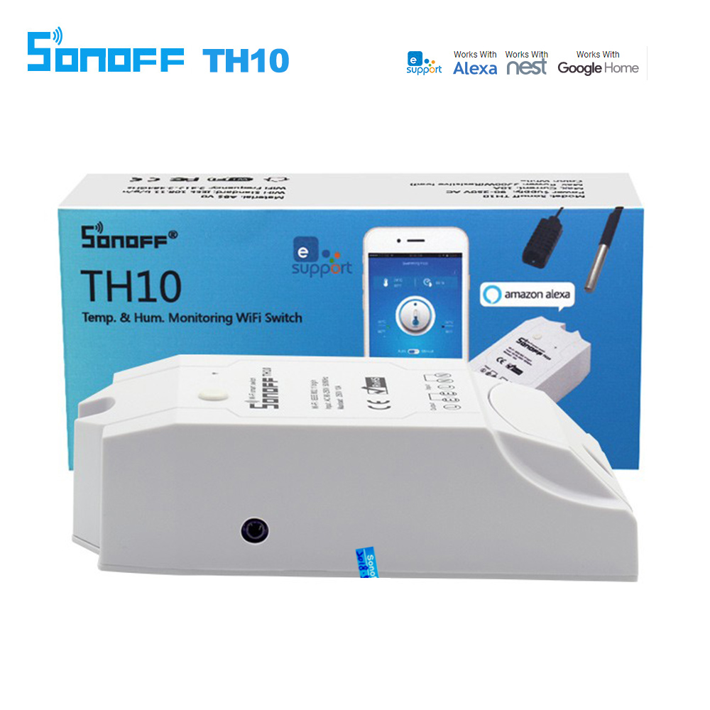 Sonoff TH10 TH16 Smart Wifi Switch Monitor Temperature Humidity Wifi Smart Switch Home Automation Kit Support Alexa Google Home grundfos насос sba 3 35 a