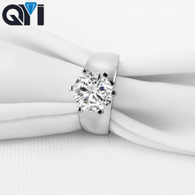 QYI 3 ct Halo Rings 925 Sterling Silver Jewelry Male Engagement Jewelry Round Shining Zircon Wedding Rings Gift Jewelry Box