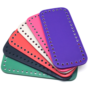 18x8cm Bottom for Knitting Bag PU Patent Leather Accessories Rectangle with Holes Diy Crochet KZBT017