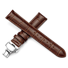 16 18 19 20 21 22 24 mm Genuine Leather Watchband With Butterfly Buckle Watch Strap Bands Bracelet spring bar цена