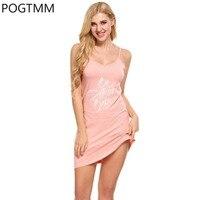 Carta Impressão Camisola Salão Sleepdress Com Decote Em V Mini Vestido Verão Mulheres Bonito Camisola Loungewear Casa Nighties Chemise Lady YP