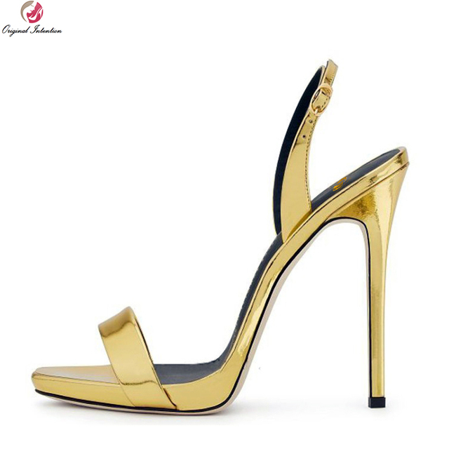 7b10799621cd8e Intenzione originale Donne Sexy Sandali Open Toe Tacchi Sottili Sandali  nero Oro Champagne Rosso Scarpe Donna Nuda Più Il Formato DEGLI STATI UNITI  3-10.5
