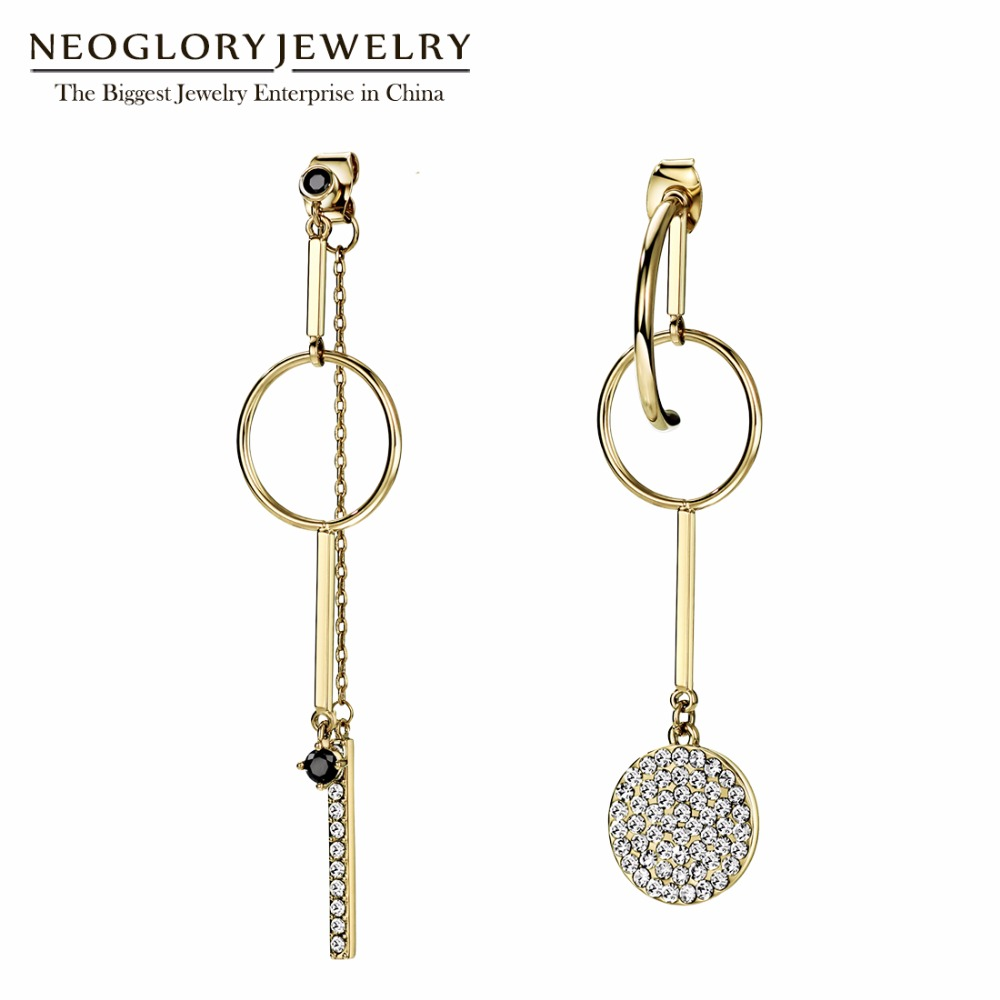 Neoglory Asymmetric Earrings Circle Earrings Long Dangle Drop Earrings For Women Vintage Gifts Fashion Jewelry 2018 New Design alloy bead chain circle drop earrings