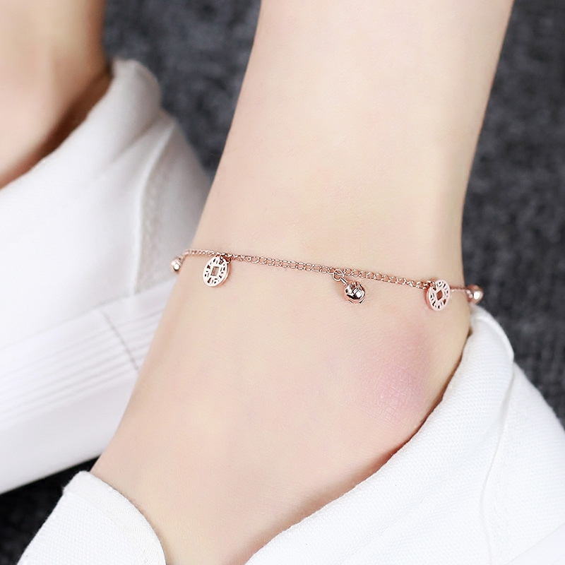 Top Quality 18KGP Rose Coins Bells Anklet Fashion Women's Titanium Steel Jewelry Birthday Gift Free Shipping (GA023)