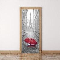 3D Large Size Fake Door Sticker Mural Imitation Paris Eiffel Tower Self Adhesive Door Stickers Bedroom
