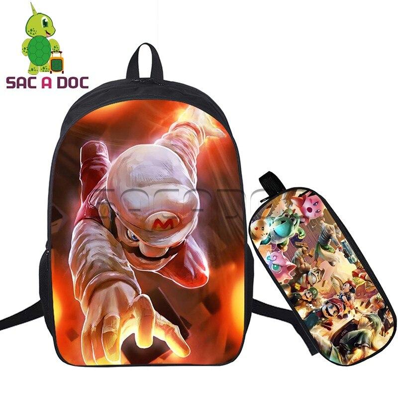 289135808db0 Hot Game Super Mario 2pcs Set Backpack Women Men Laptop Backpack Mario  Luigi Bowser Prints Backpack for Teenagers Shoulder Bags