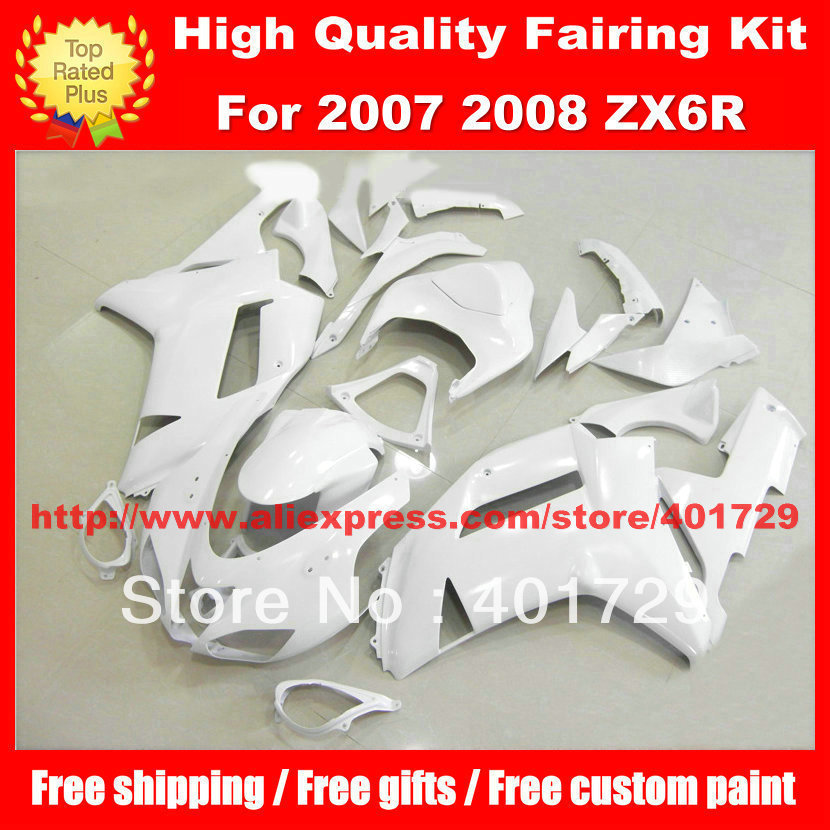 Bright white motorcycle body work for Kawasaki Ninja ZX6R 2007 2008 ZX 6R 07 08 ZX6R