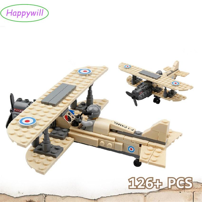 Happywill 82001 mega blocks compatible Royal Air Force  F-1 Camel Airplane 168pcs Building Block Boys Bricks Toy gift compatible колено угловое эра 60х120 d100мм 90 гр пласт бел