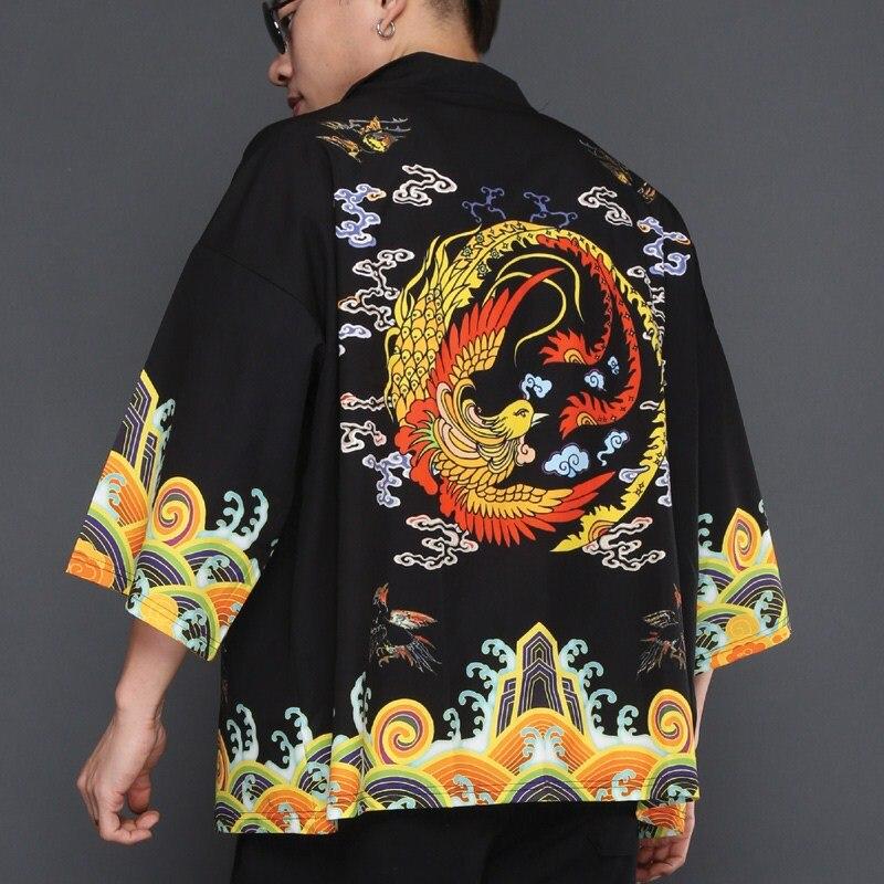 2018 Новый Вышивка мужчин японский юката пальто-кимоно верхняя одежда хлопок Винтаж Ретро Свободные Топ черный красный темно-