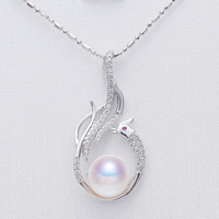 Unique Natural Pearl Phoenix Pendant Necklace, 9 10mm Freshwater Pearl, Fine Jewelry, 925 Silver Pendant Gift For Women