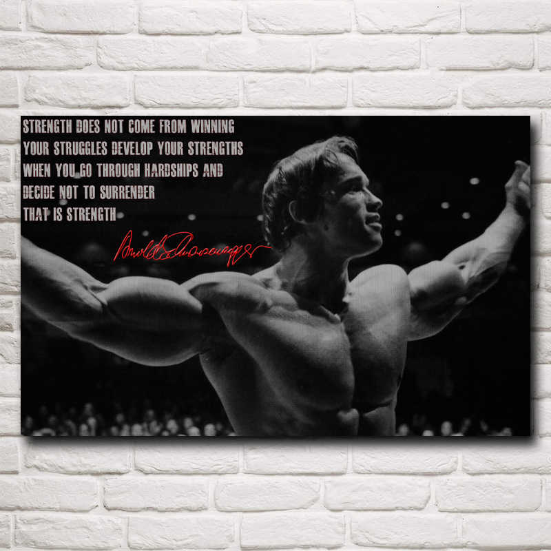 Foocame Bodybuilder Arnold Schwarzenegger Art Silk Motiverende Posters En Prints Schilderen Home Decoration Foto Woonkamer