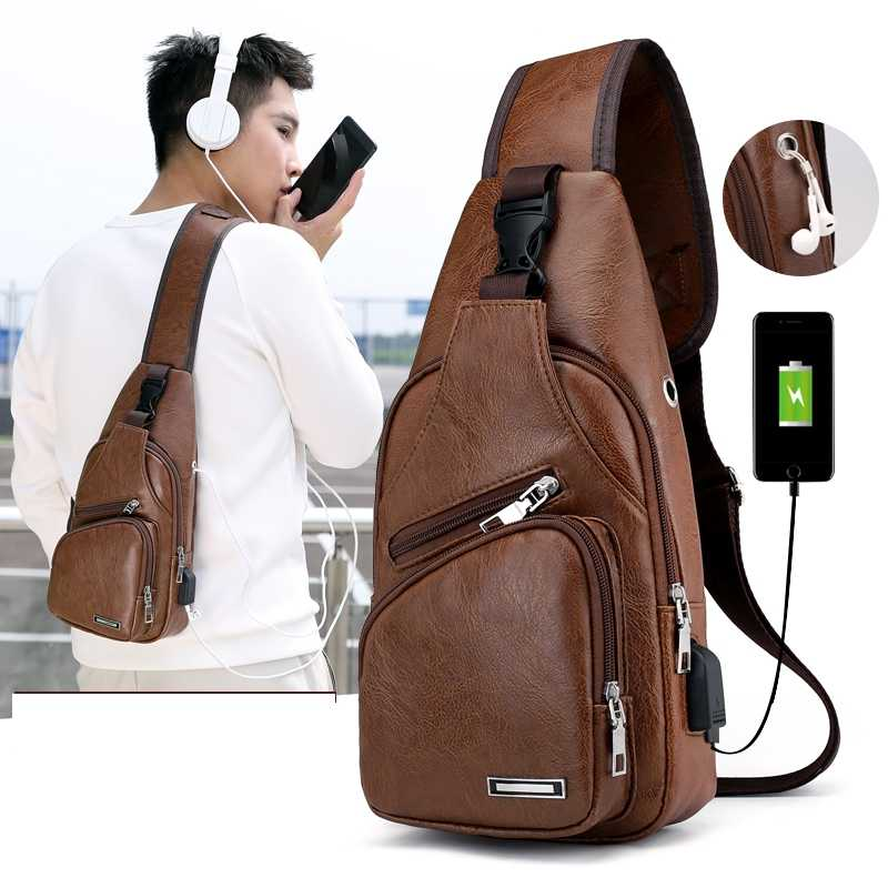 Men's USB Charging Bag Men's Chest Bag Cross-Border For Custom PU PVC Shoulder Bag Diagonal Package Messenger Travel Bag Men