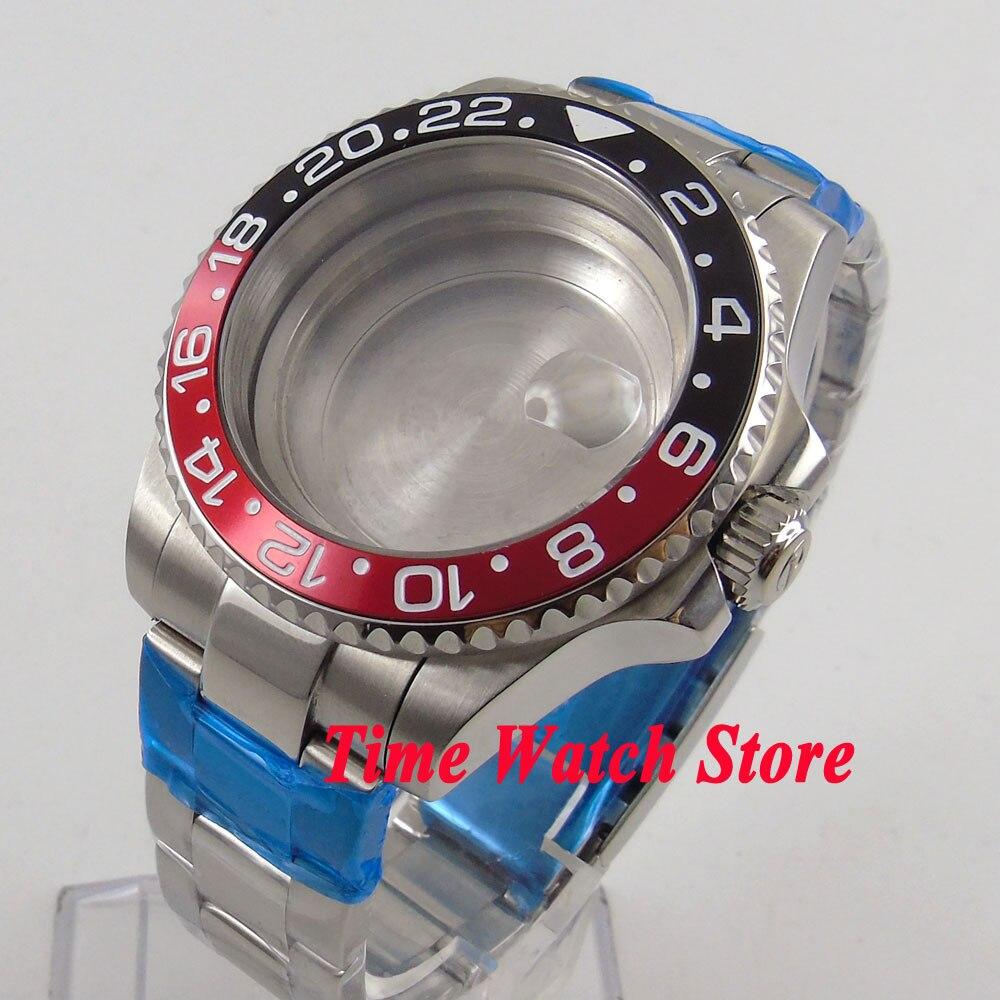 Fit ETA 2824 2836 movement 40mm sapphire glass watch case with bracelet 111