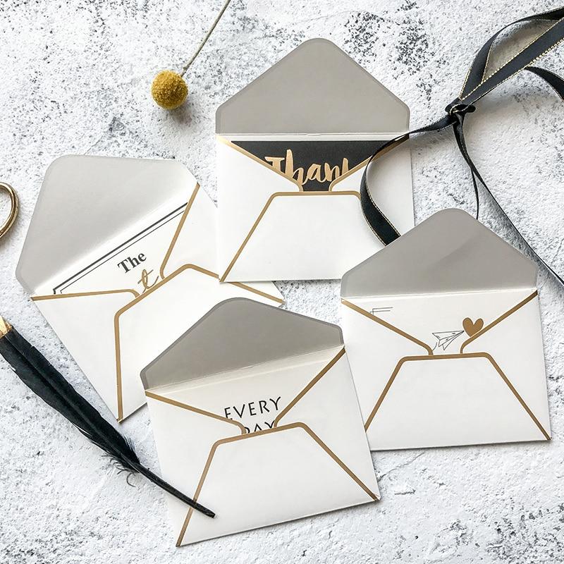 8 Set /lot Hot Stamping Paper Envelopes Creative Greeting Card Mini Elegant Gift Cards (Envelope+Greeting Card)