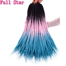 Box Braids 1 pack/lot 22 inch Black Ombre Pink Blue purple Color Crochet Braiding Synthetic Hair Bundle Full Star hair for Women(China)