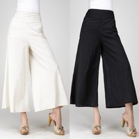 Womens Linen Pants For Summer Wide Leg Pants Female Vintage Retro High Waist Elastic Band Drawstring