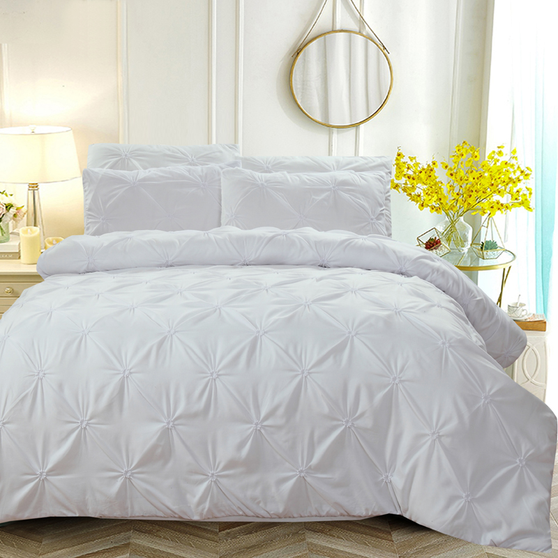 Luxury Pinch Pleat Bedding Set Duvet Cover Set Pillowcases Comforter Bedding Sets Bed Linen Bedclothes Wedding Bedroom Decor