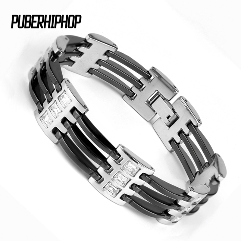 Accessory Men Bracelet 2017 New High Quality Men Bracelet Stainless Steel Seven Section Women Hollow Ceramic Bracelet For Men