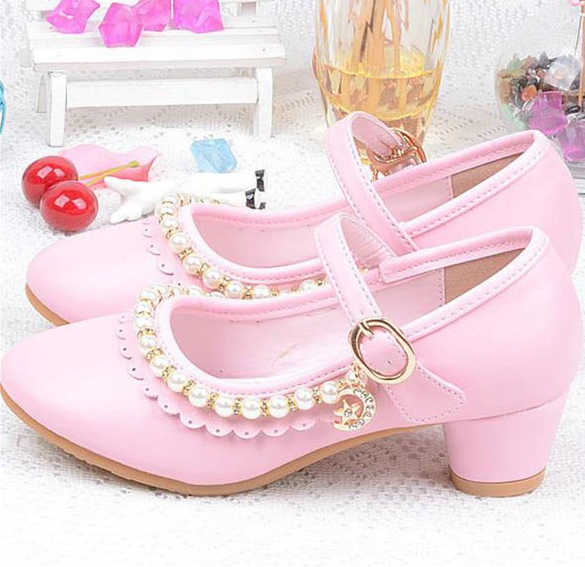 qloblo Autumn 2018 Children Princess Leather shoes Sandals Kids Girls beading Shoes High Heels Dress Party Shoes For Girls