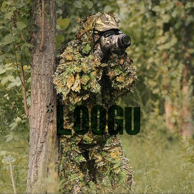 c0194216b7a6c Polyester Durable Outdoor Woodland camouflage tactical ghillie suit Cloak  Military 3D Leaf Jungle Hunting camo sniper clothes