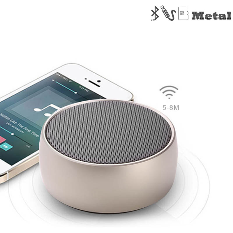 Image 2 - Metal Bluetooth Speaker Outdoor Round Sport Super Bass Music Player MP3 Box with Hands Free Call Support TF Card Mini Speaker-in Portable Speakers from Consumer Electronics
