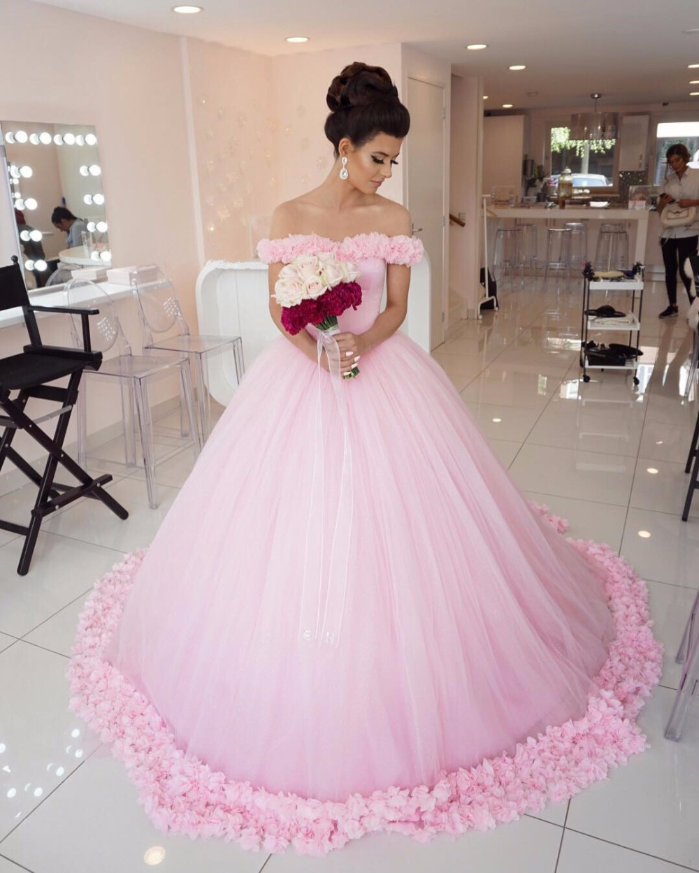 Estilo de la princesa Bola Vestidos de Novia vestido Rosa 2017 Más ...