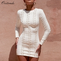 Ocstrade Women Fashion New 2018 Autumn Winter White Suedette Lace Up Bodycon Dress Sexy Party Mini Dress Long Sleeve