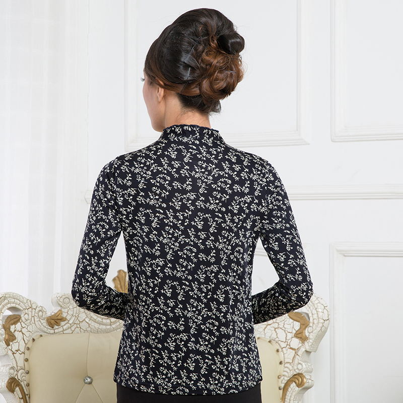 Новое поступление чистый шелк вязаный гофрированный круглый вырез Футболка женская, 100% шелк модный длинный рукав принт Женская футболка - 6