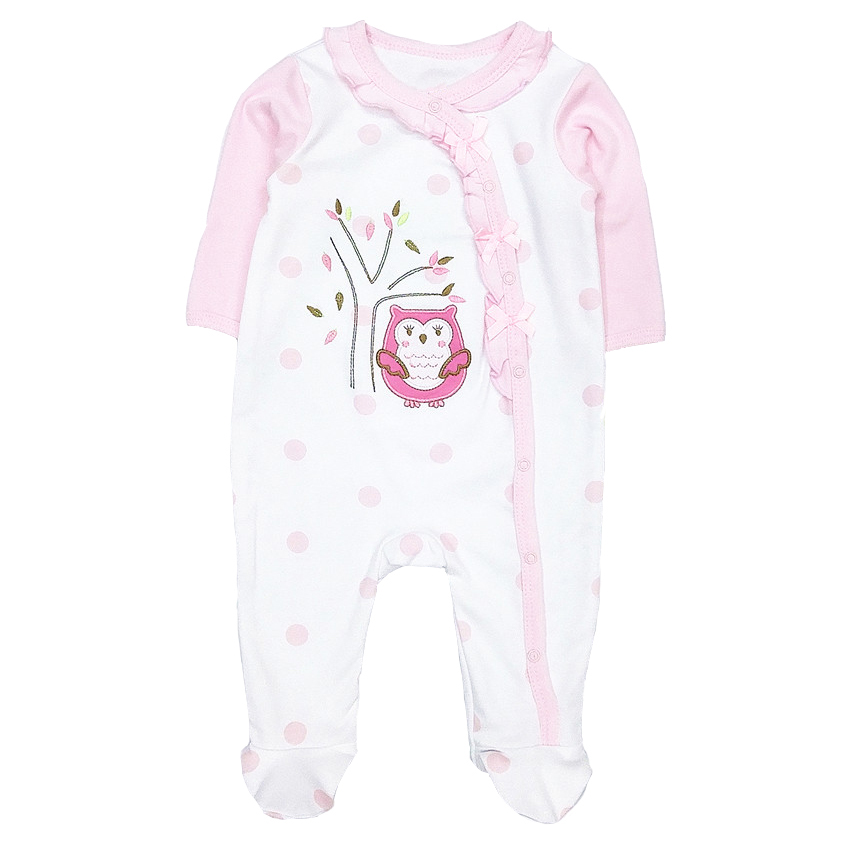 2018 Baby  girls rompers newborn  baby clothes 100% cotton long sleeves bebe O-neck pink owl cute infant clothing baby boys girls clothes newborn bebe rompers costume short sleeve ropa de bebe 100%cotton clothing 5pcs lot unisex 0 9months