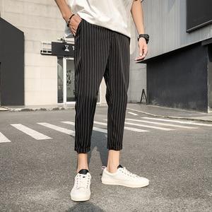 Image 2 - 2019 Mens Cotton Fashion Loose Printing Stripe Black/navy Haren Casual Pants Trousers Harem Hip Hop Pants Large Size M 5XL