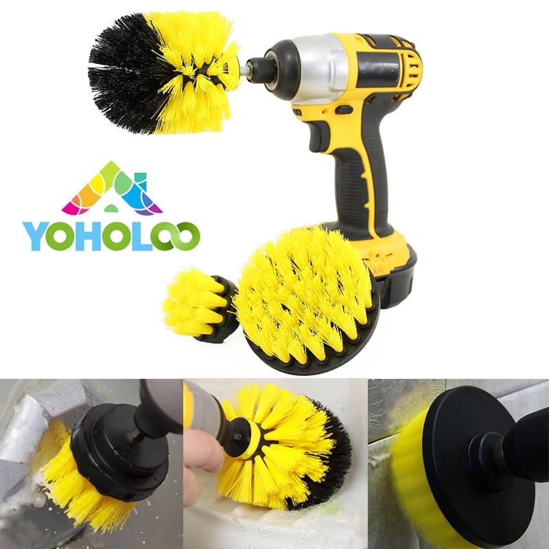 3 pcs Power Scrub Brush Drill Cleaning Brush for Bathroom Shower Tile Grout Cordless Power Scrubber Drill Attachment Brush Kit
