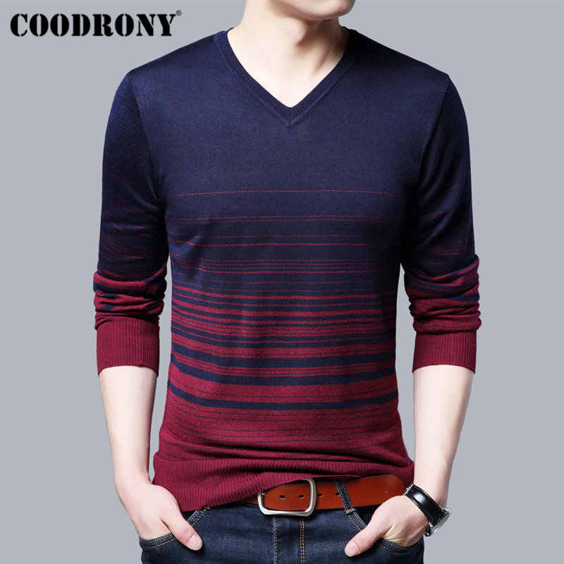 COODRONY Casual V-Neck Pull Homme Long Sleeve Knitwear Cotton Thin Sweater Men Clothes 2018 New Autumn Winter Pullover Men B013