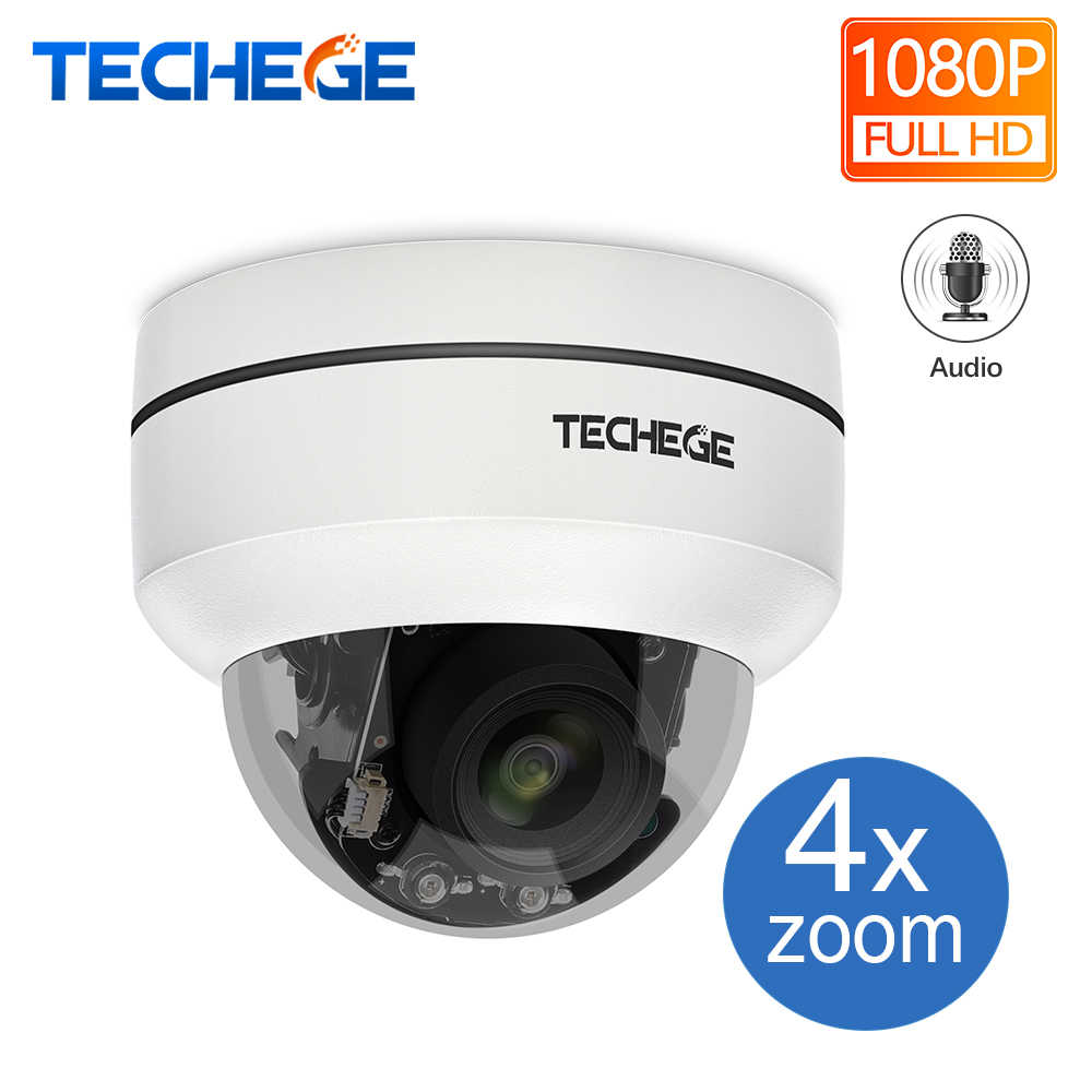 Techege HD 2MP PTZ IP CCTV Security Camera POE 48V Mini Pan/Tilt/Zoom 4X Optical Zoom Speed Dome PTZ Camera Onvif RTSP