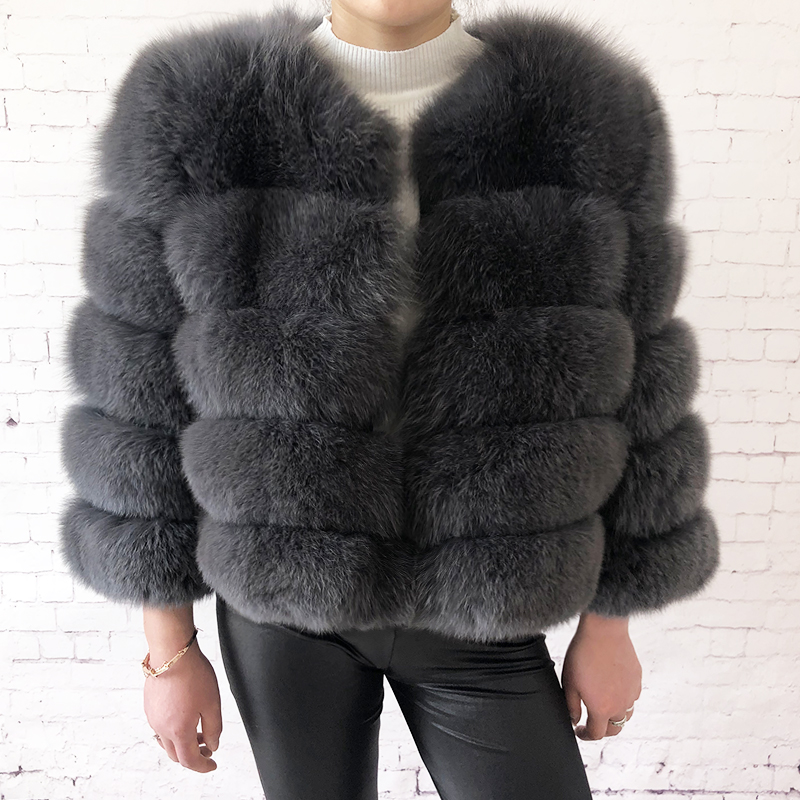 2019 new style real fur coat 100% natural fur jacket female winter warm leather fox fur coat high quality fur vest Free shipping 127