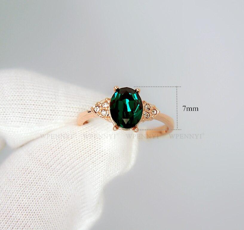 Розовое золото цвет темно зеленый Цирконий Кристалл Erstwhile памяти Ретро дизайн женские кольца оптом подарок для мамы