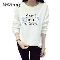 2017 High Quality Women O Neck Say Hello Summer Print Tops Hoodies Tumblr Sweatshirts Oversized Pullovers