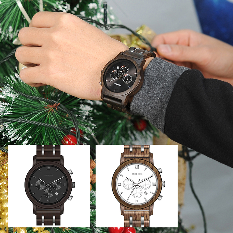 Relojes de Madera con Banda Metálica 1
