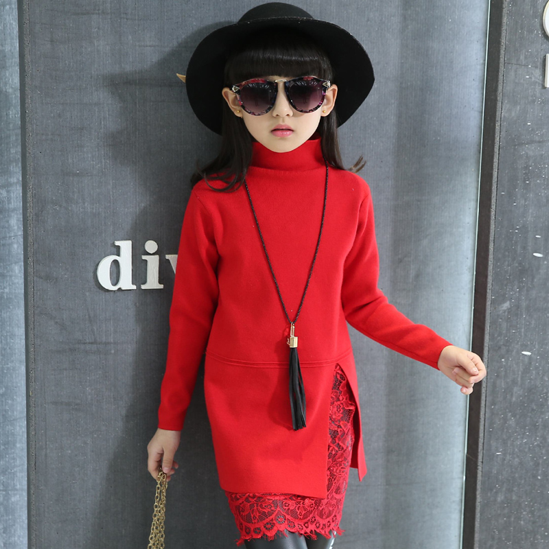 cc5acdcbb 2018 Fall Winter Girls Fashion Knitted Sweater Dress With Lace ...