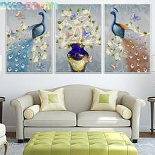 Diy Full Resin Round Diamond Painting Rhinestones Embroidery Kit Peacock And Flowers Nordic Style Mosaic Decor As A Hobby Gift